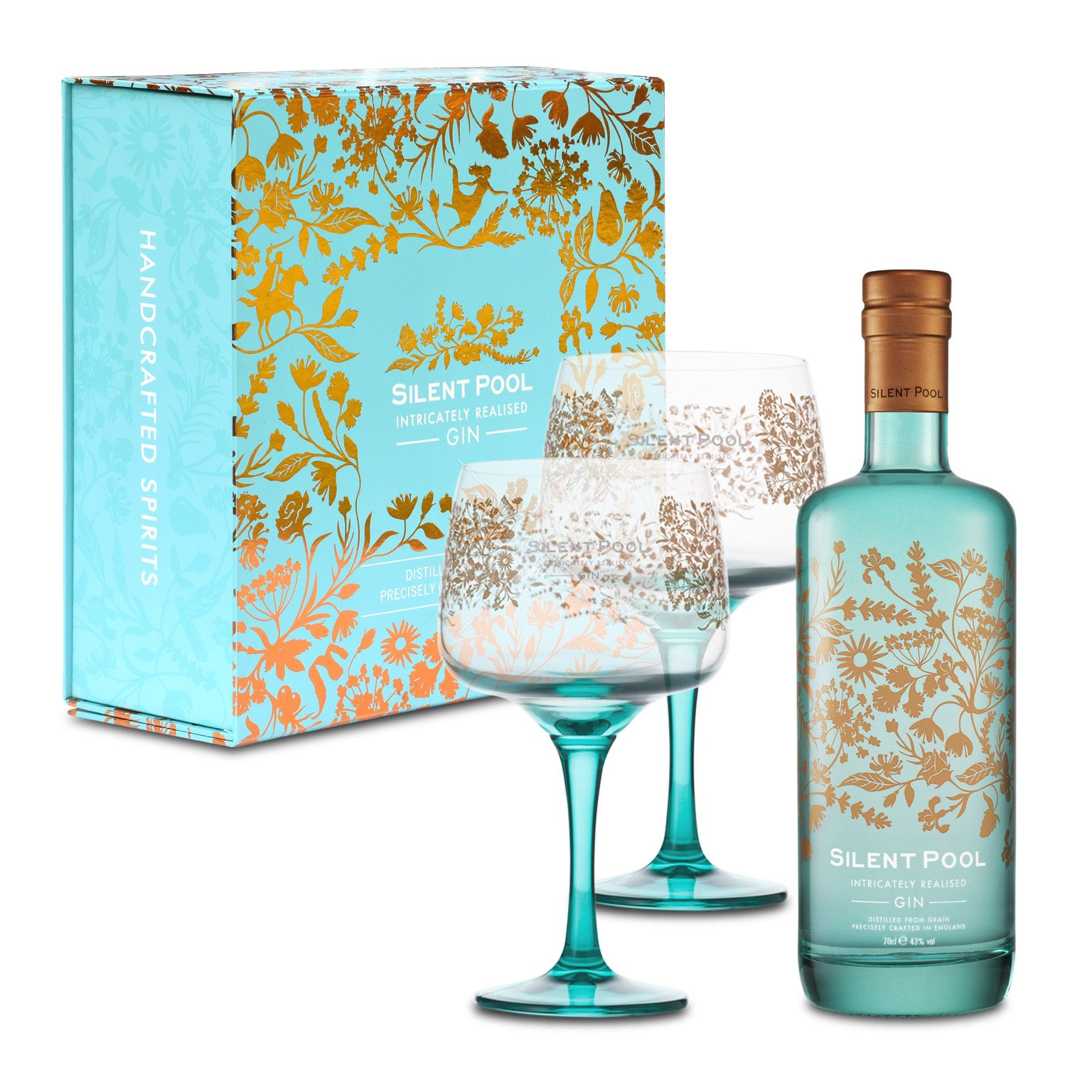 Silent Pool Gin 0 7l 43 Vol Gift Box With 2 Copa Glasses